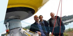 Professor Lars Johanning, Professor Julian Wolfram and David Parish at an IDCORE buoy launch
